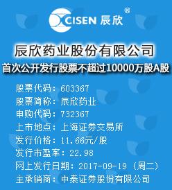 辰欣药业今日申购发行价为11.66