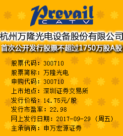 万隆光电今日申购发行价格为14.