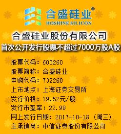 合盛硅业今日申购发行价格为19.