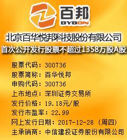 百华悦邦今日申购发行价格为19.