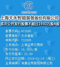 天永智能今日申购发行价格为18.